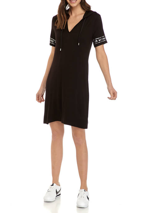 MICHAEL Michael Kors Womens Logo Hoodie Knit Dress