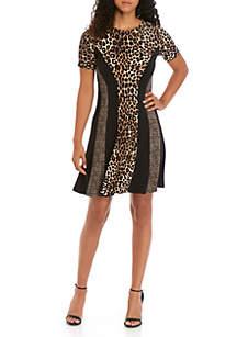 MICHAEL Michael Kors Mix Leopard Print Short Sleeve Dress