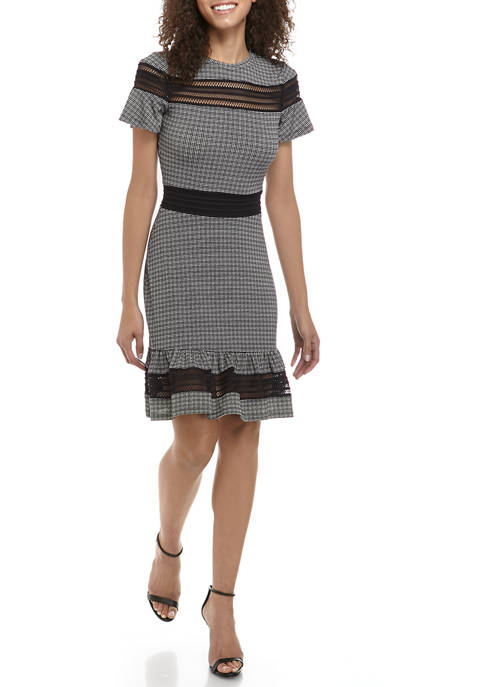 MICHAEL Michael Kors Womens Mesh Combo Check Dress