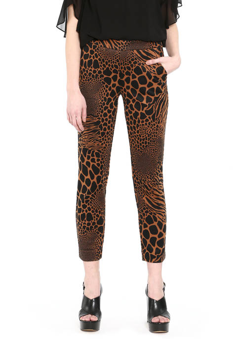 Womens Animal Print Pull-On Trousers