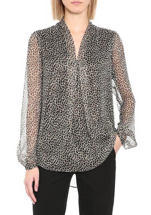 Womens Leopard Print Inverted Pleat Blouse