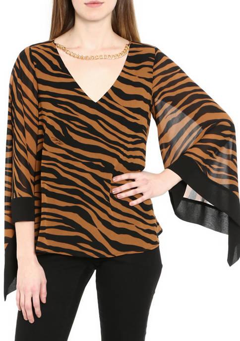 MICHAEL Michael Kors Womens Glam Tiger Top