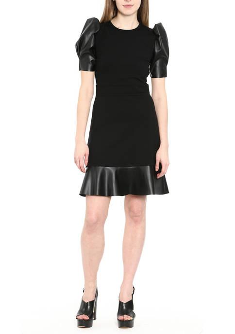 MICHAEL Michael Kors Womens Ponte Leather Mix Ruffle