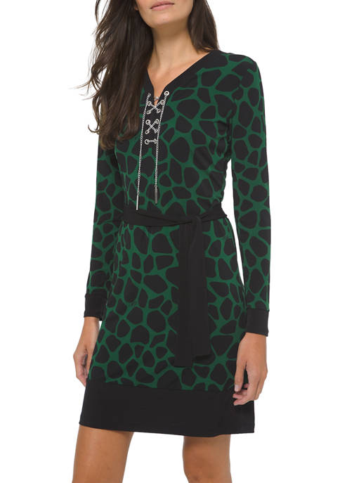 Womens Animal Lace Up Border Dress