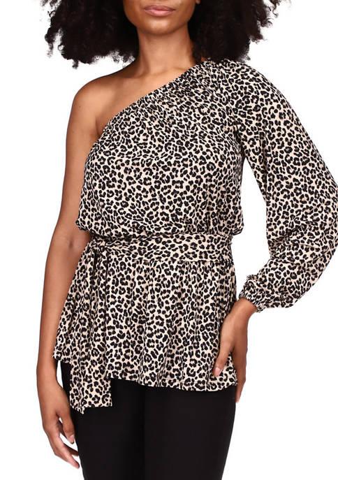 MICHAEL Michael Kors Womens One Shoulder Cheetah Print