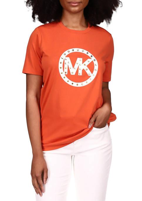 MICHAEL Michael Kors Womens Short Sleeve Studded Logo