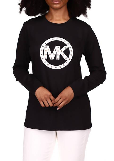 MICHAEL Michael Kors Womens Stud Circle Logo Long