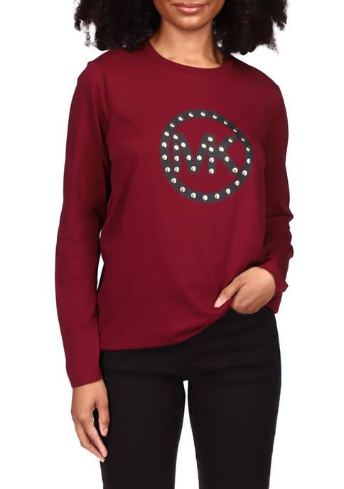 Womens Stud Circle Logo Long Sleeve T-Shirt