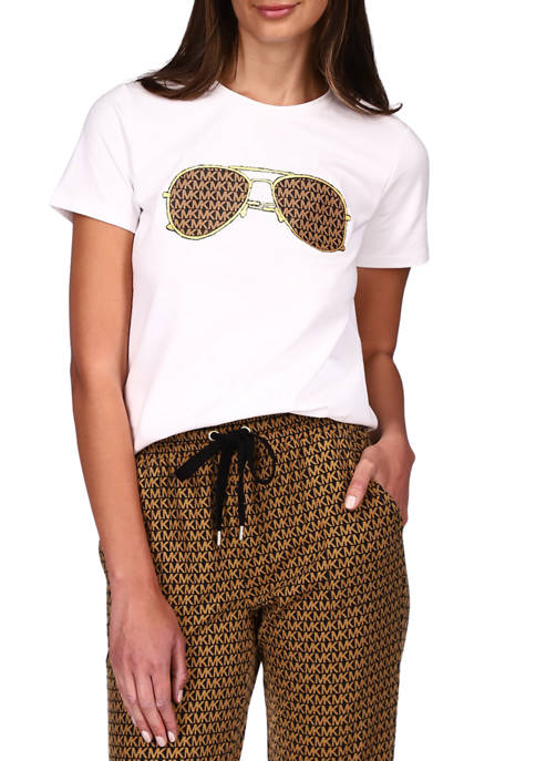 MICHAEL Michael Kors Womens Short Sleeve Sunglass Graphic