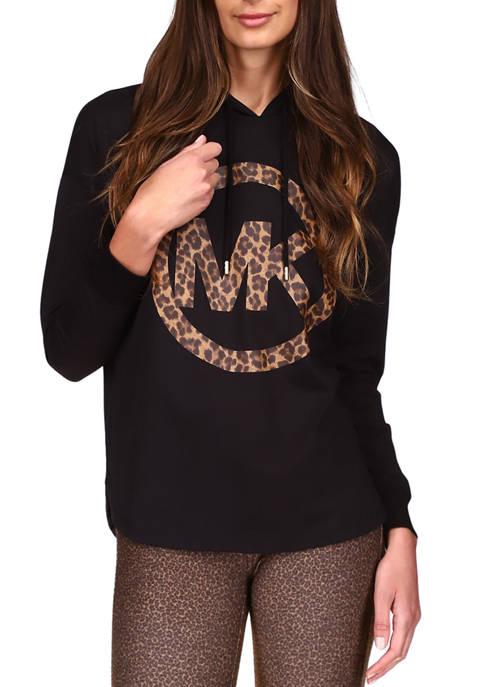 MICHAEL Michael Kors Womens Long Sleeve Cheetah Print