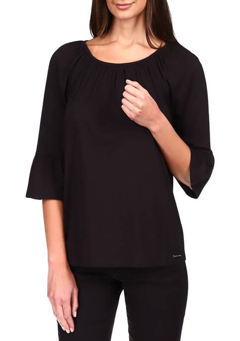 MICHAEL Michael Kors Womens 3/4 Bell Sleeve Top