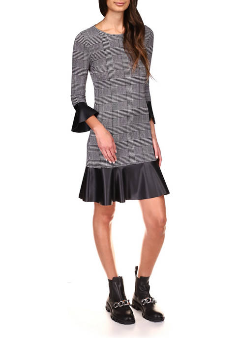 MICHAEL Michael Kors Womens Houndstooth Leather Flounce Bell