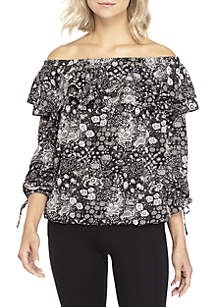 Paisley Ruffle Off-the-Shoulder Blouse