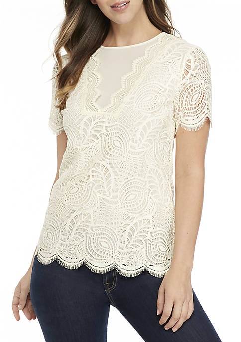 MICHAEL Michael Kors Lace Trim Bib Top