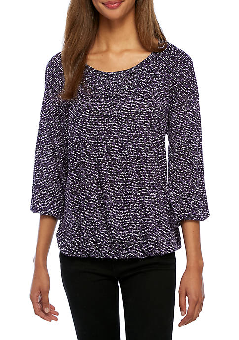 MICHAEL Michael Kors Space Tweed Peasant Top
