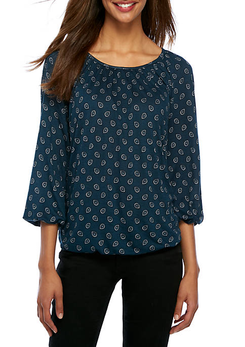 MICHAEL Michael Kors Scattered Foulard Peasant Top