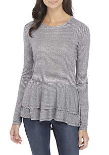 Mini Tweed Double Hem Top