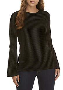 Velvet Stripe Flare Sleeve Top