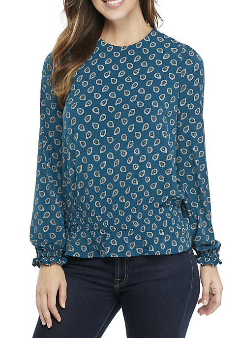 MICHAEL Michael Kors Smocked Long Sleeve Top