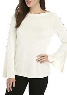 Button Split Sleeve Sweater