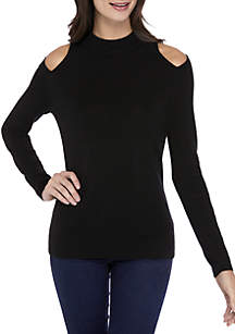 Solid Cutout Mock Neck Sweater