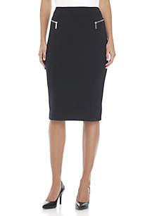 Zip Ponte Long Pencil Skirt