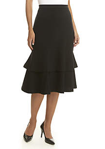 Solid Tiered Skirt