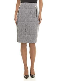 Zip Front Textured Pencil Skirt