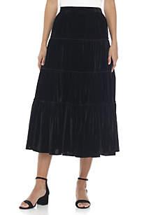 Velvet Tiered Midi Skirt