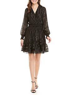 Shiny Plaid Flounce Dress