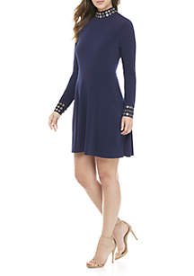 Grommet Mock Neck Long Sleeve Dress