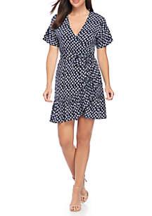 Mini Wrap Flutter Sleeve Dress