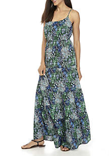 Paisley Tiered Crepe Maxi Dress