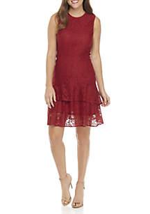 Sleeveless Lace Flounce Dress