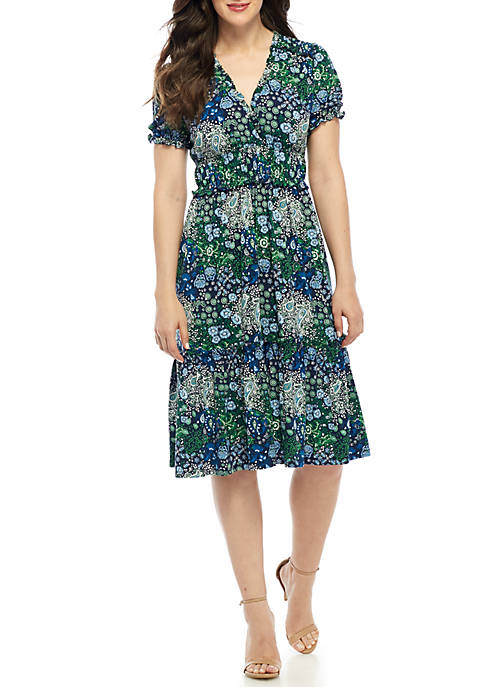 MICHAEL Michael Kors Paisley V-Neck Ruffle Smock Dress