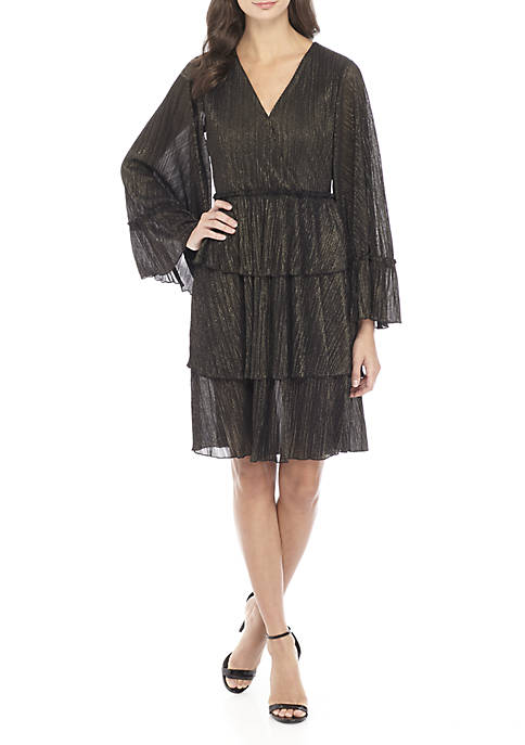 MICHAEL Michael Kors Long Sleeve Ruffle Tier Dress