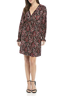 Long Sleeve V-Neck Shirring Dress