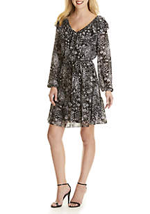 Ruffle V-Neck Belted Dress