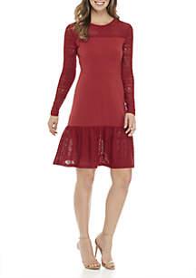 Mix Fabric Long Sleeve Dress