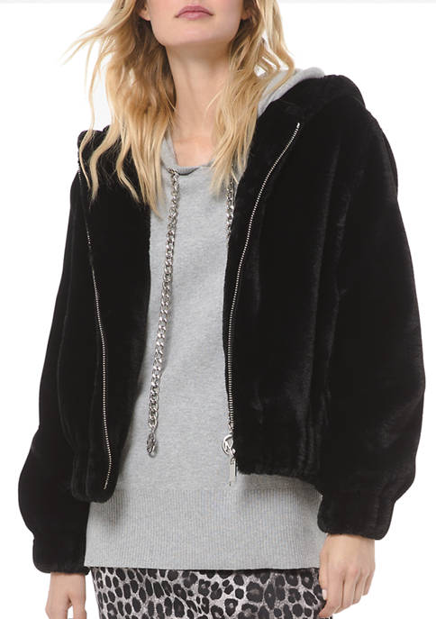 MICHAEL Michael Kors Womens Fur Hood Jacket