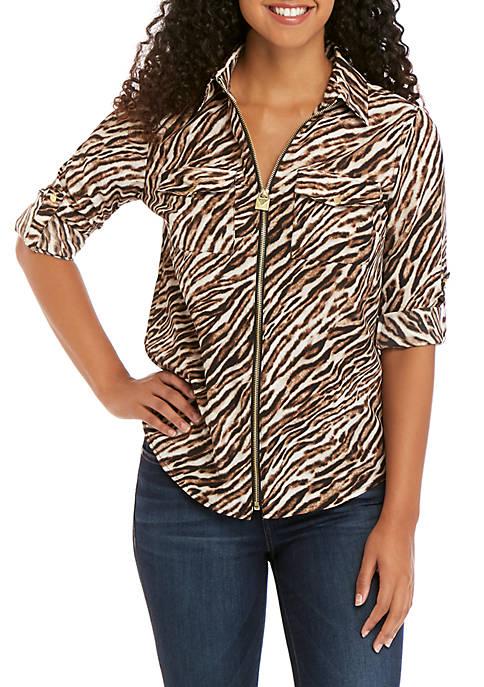 MICHAEL Michael Kors Tiger Print Dog Tag Shirt