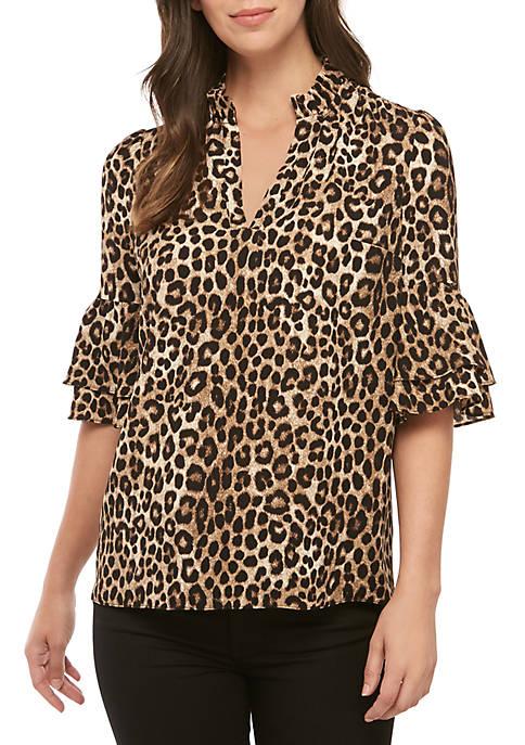 MICHAEL Michael Kors Ruffle Neck Cheetah Print Blouse