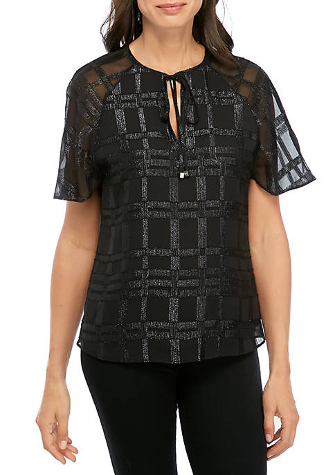 MICHAEL Michael Kors Shiny Plaid Blouse
