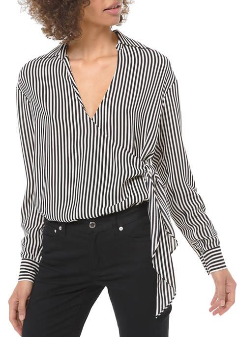 MICHAEL Michael Kors Womens Wrap Tie Stripe Top