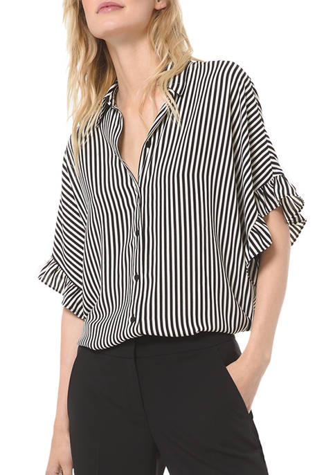 MICHAEL Michael Kors Womens Ruffle Sleeve Stripe Shirt