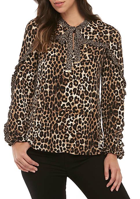 MICHAEL Michael Kors Tie Neck Mix Cheetah Knit
