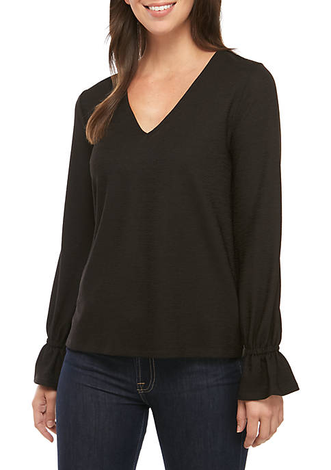 MICHAEL Michael Kors Flare Sleeve V-Neck Textured Knit