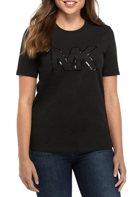 MICHAEL Michael Kors Womens Sequin Logo T-Shirt