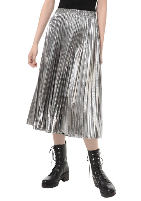 MICHAEL Michael Kors Womens Multicolored Pleated Midi Skirt