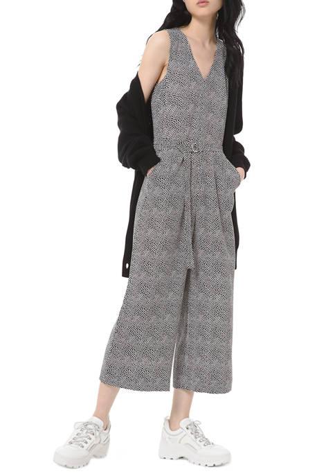 MICHAEL Michael Kors Womens Foliage Belted Jumpsuit